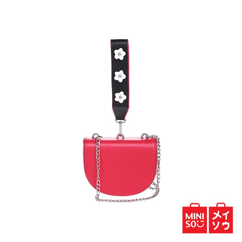 Miniso Official Crossbody bag with flower strap red (07MN-4779)