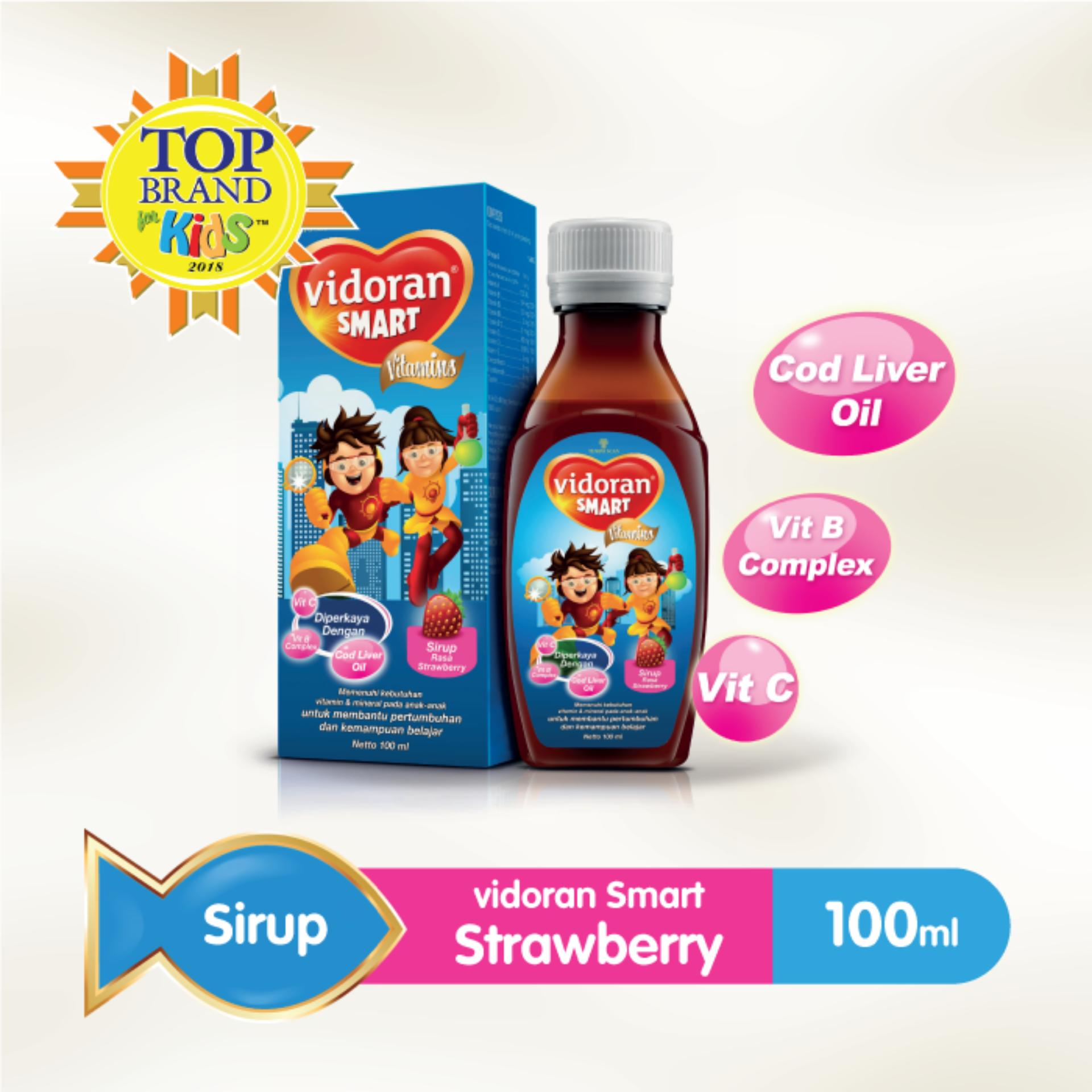 Vidoran Smart Strawberry Syrup Vitamin Anak [100 Ml] By Vidoran Official Store