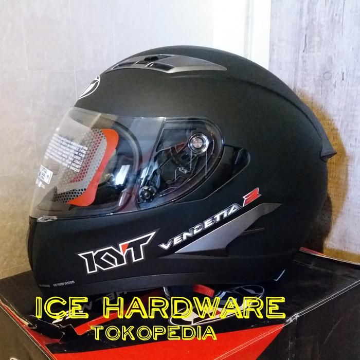 Helm Motor Full Face Double Visor KYT Vendetta 2 Black Doff Murah