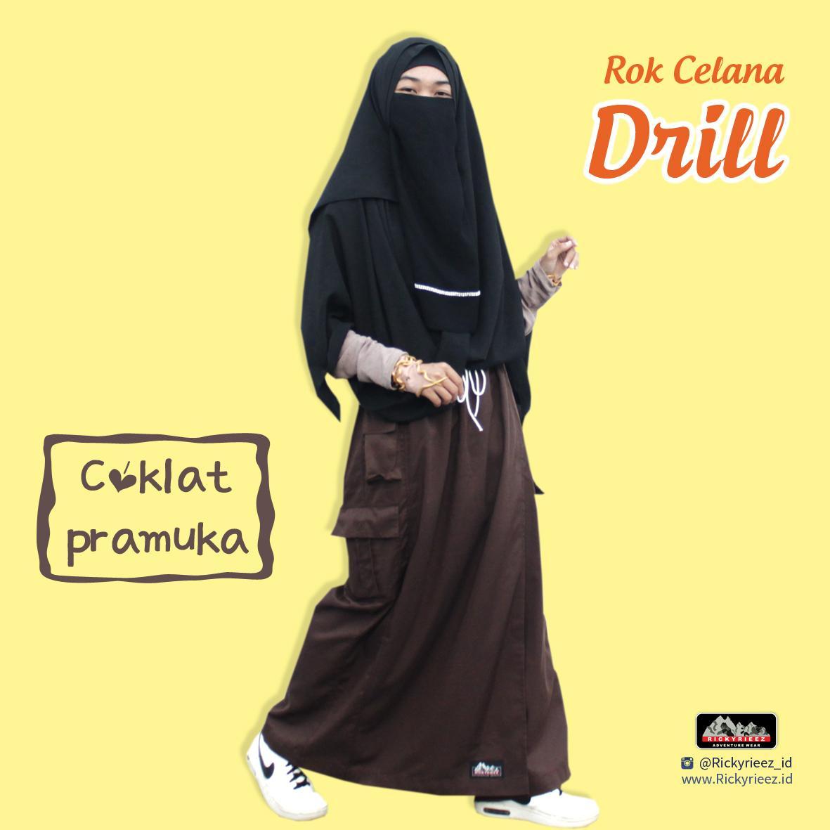 Rickyriezz Rok Celana Muslimah Dril [Abu-Marun-Coklat Tua]