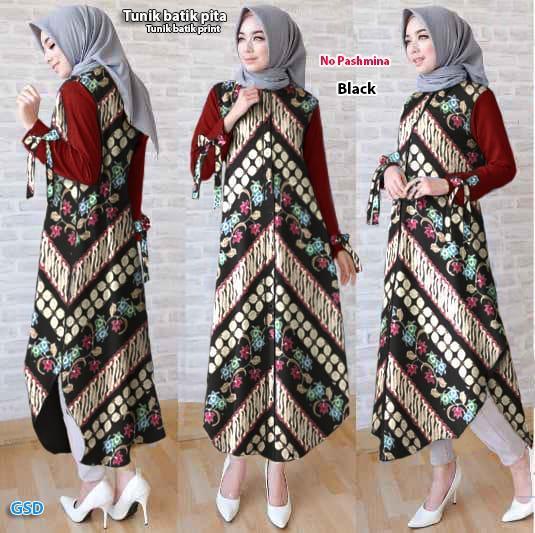 NCR - Baju Atasan Muslim / Baju Tunik / Baju Batik / Dress Batik / Tunik Batik Print