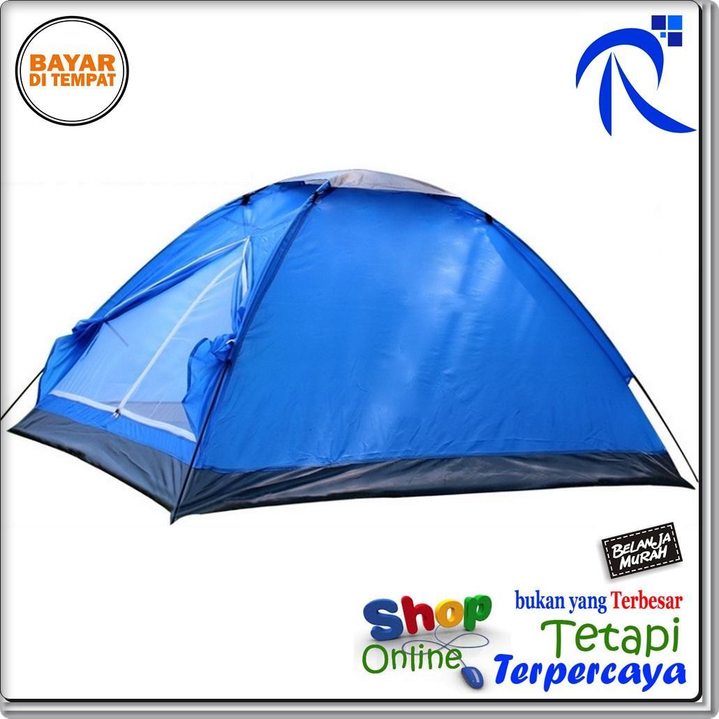 Rimas Double Layer Door Camping Tent / Tenda Camping - Blue Berkemah Outdoor Furniture Aksesoris kamping Permainan Luar Ruangan Travel terbuat dari bahan yang berkualitas FREE ONGKIR & Bisa COD.