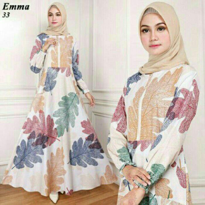 Maxi emma (33) putih baju muslim gamis wanita model kekinian terbaru 25515d0791