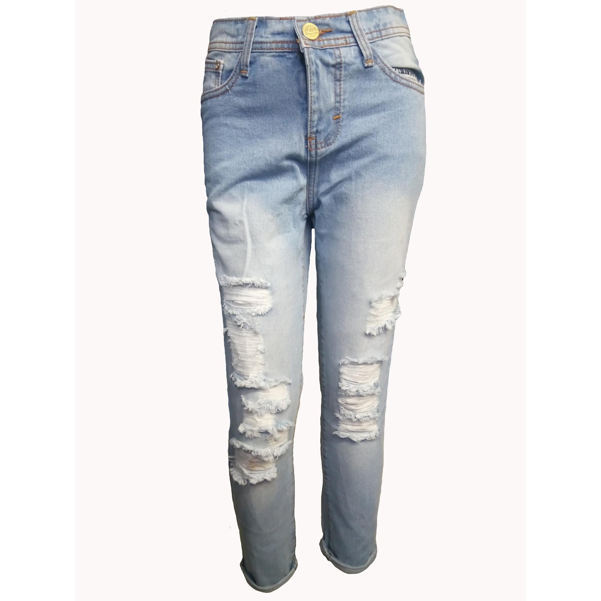 ZFJ Celana Jeans Wanita Terbaru High Quality Boyfriend Denim Sobek Tambal Puring Medium Blue 27