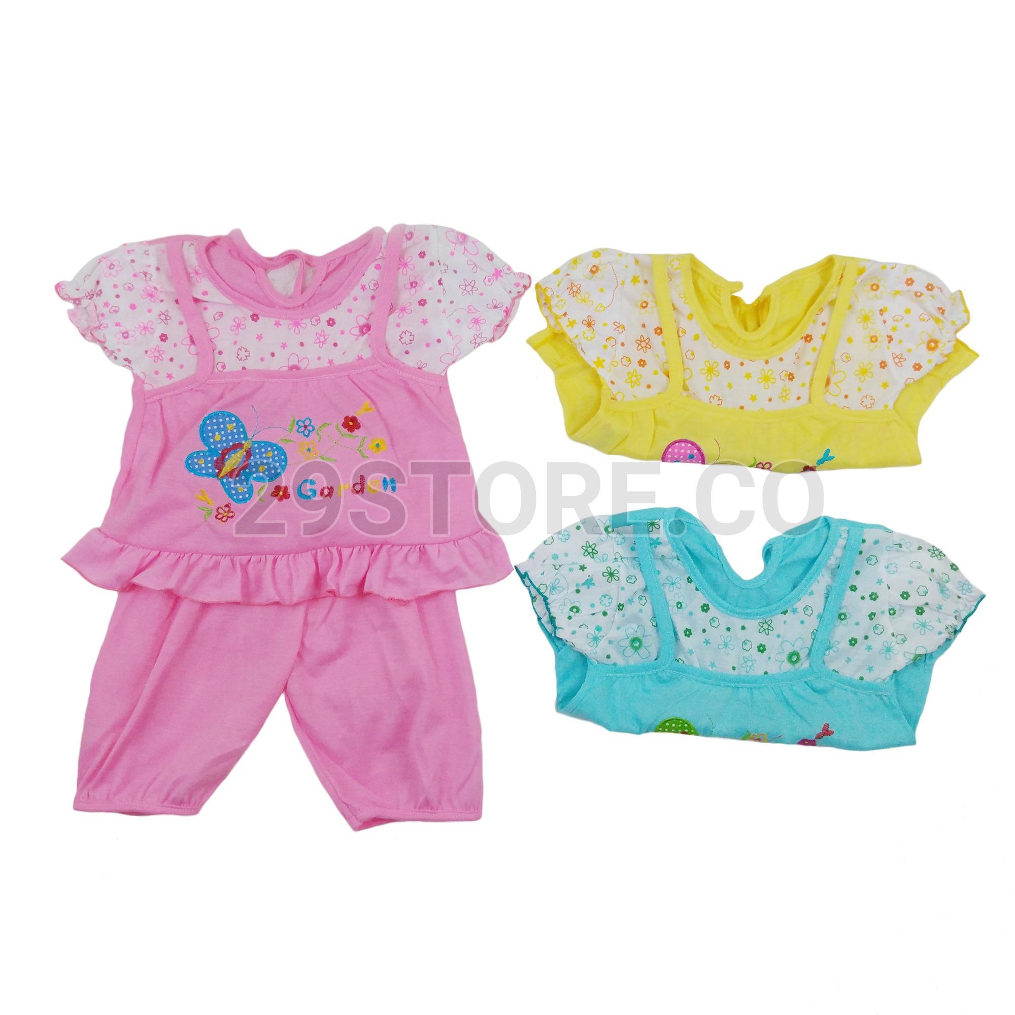 Rp 47.800 3 Set - Setelan Dress Baju Kaos Anak Bayi Cewek PerempuanIDR47800