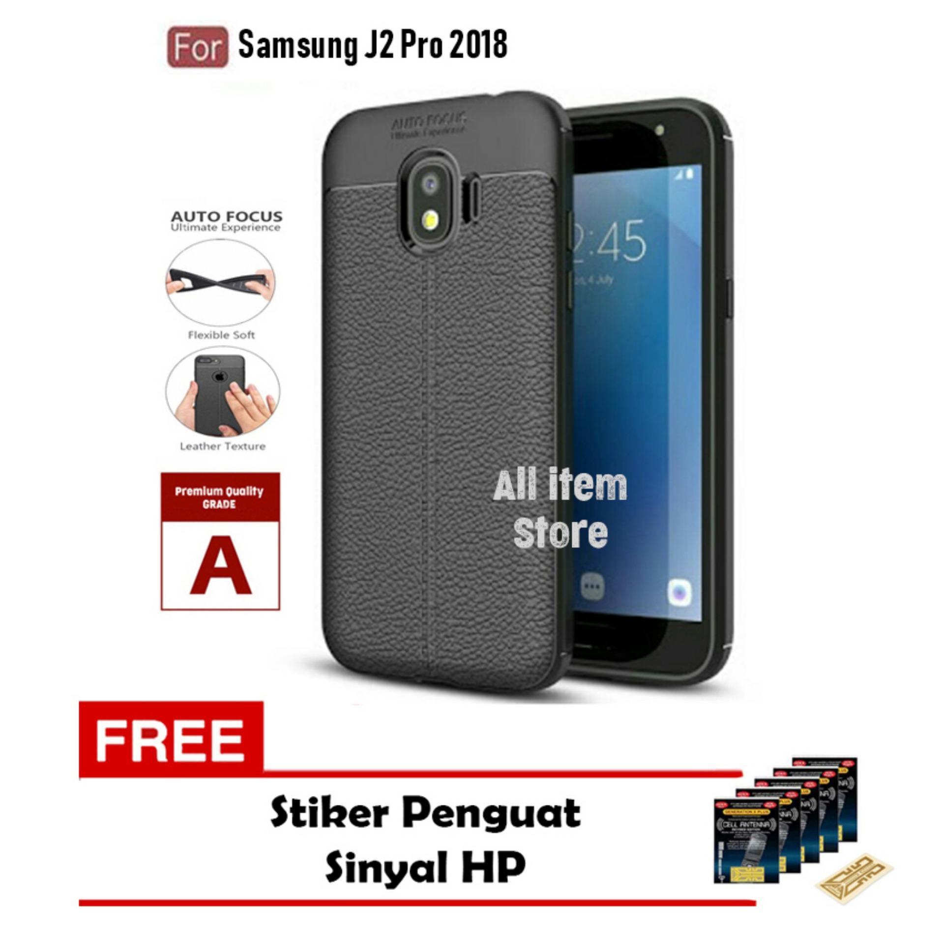 Case Auto Focus Samsung Galaxy J2 Pro Leather Black Matte Autofocus - Hitam + Free Stiker