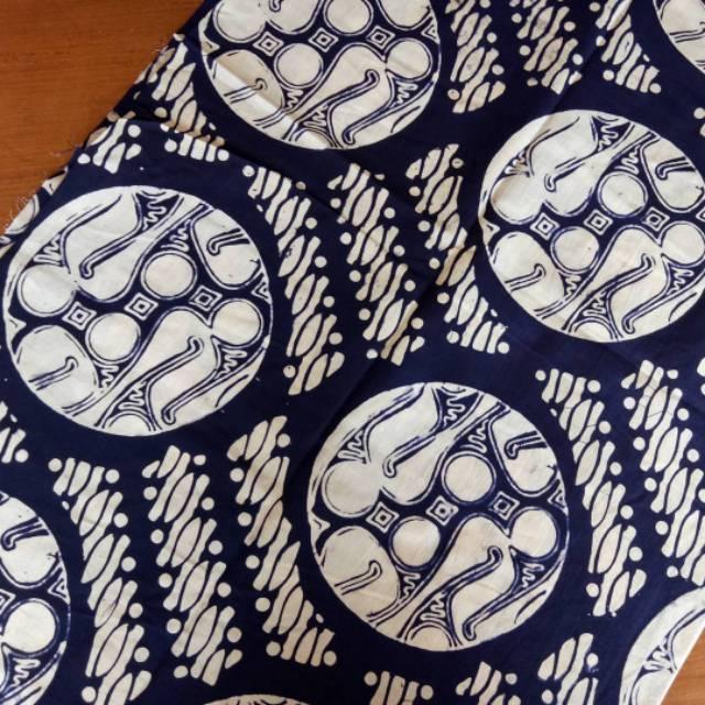 Kain Batik SOLO (Batik Cap) Motif Parang Bola Warna Biru Navy Jogja