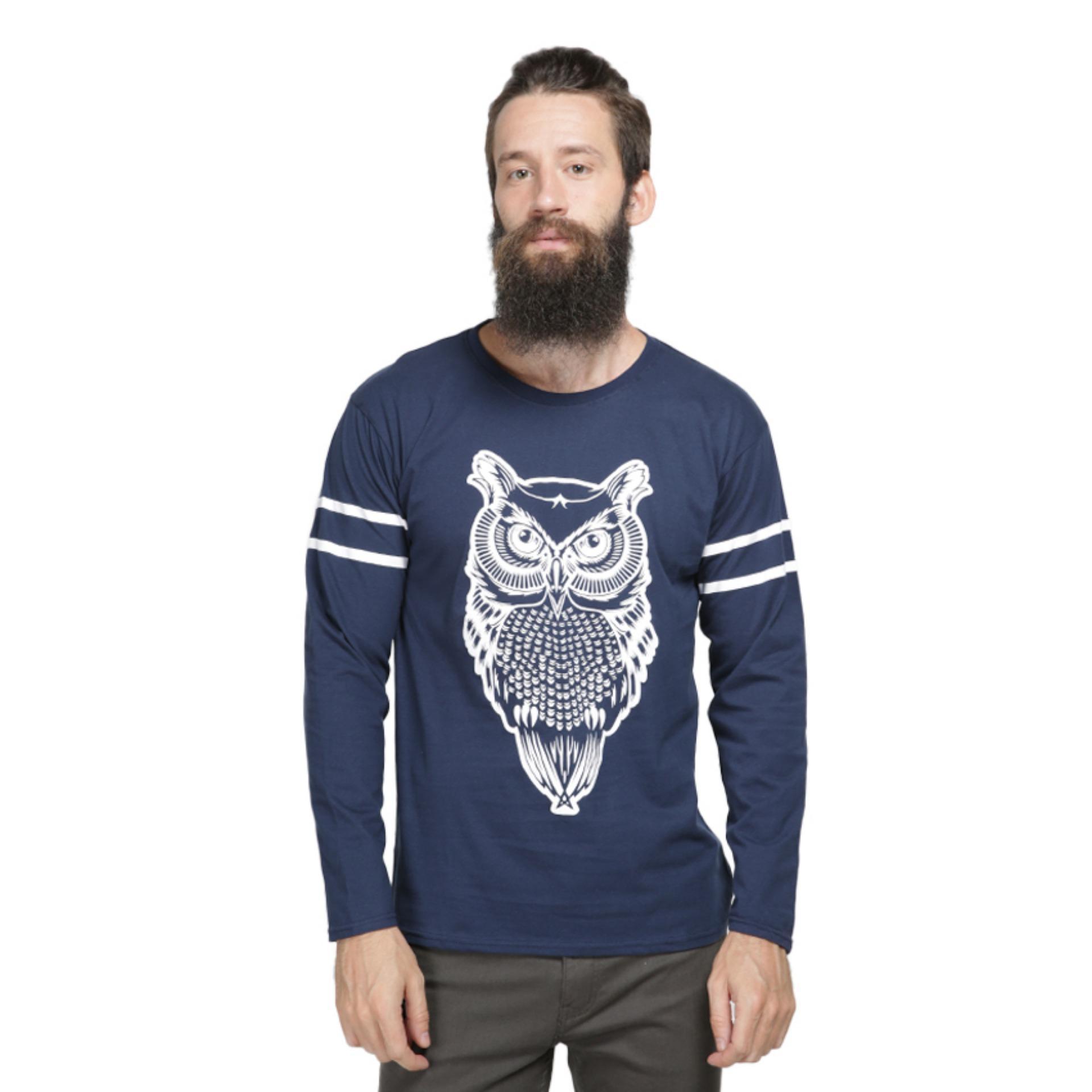 Vanwin - Kaos Distro Premium Pria Lengan Panjang Owl - Biru Navy