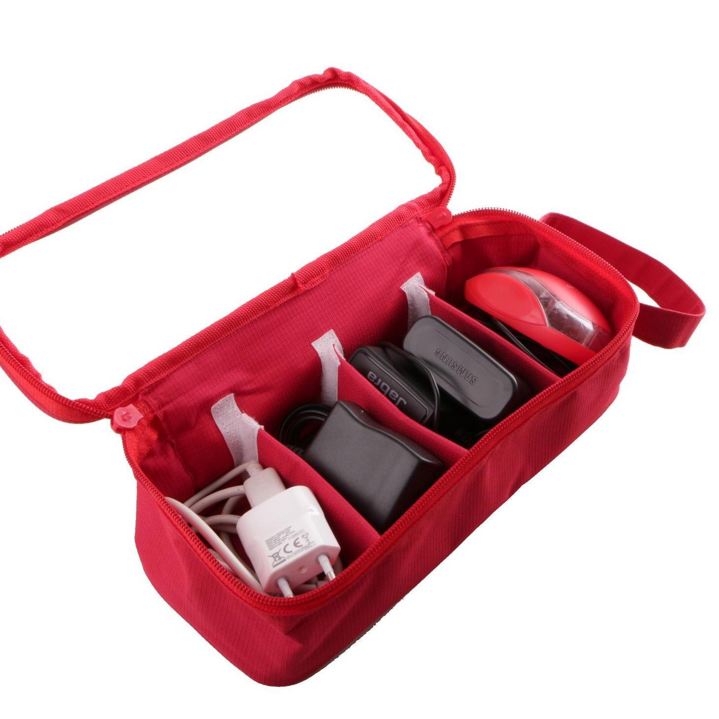 Travel Charger Organizer Storage Kotak USB Kabel Aksesoris Red
