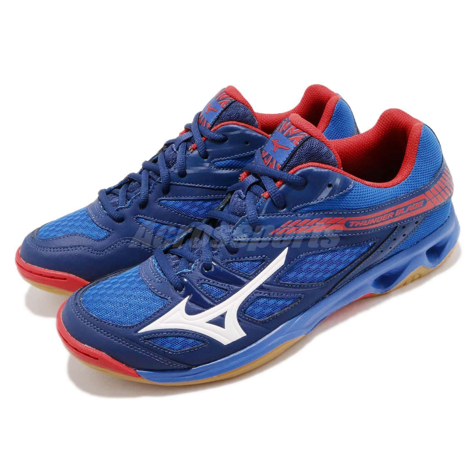 Sepatu voli/badminton  Mizuno V1GA177027	THUNDER BLADE - NAUTICAL BLUE WHITE HIGH RISK RED