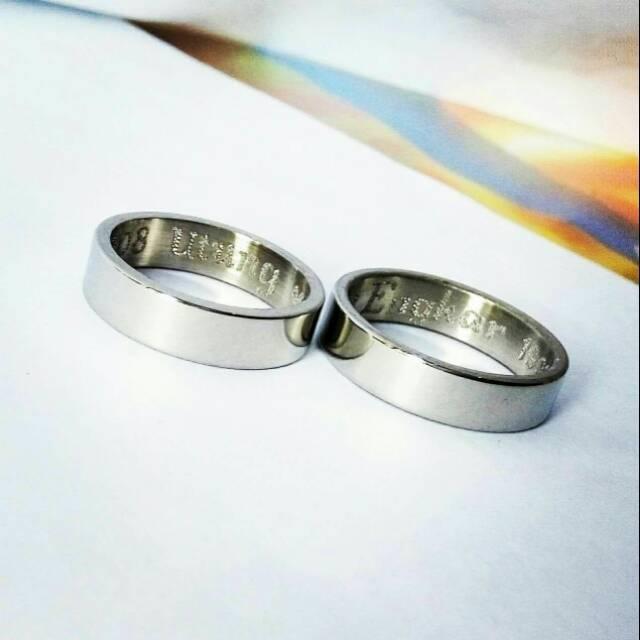 Cincin Nama Couple Ukir Nama Dalam/Luar Bahan Monel Anti Karat Anti Hitam Murah Tangan Pertama