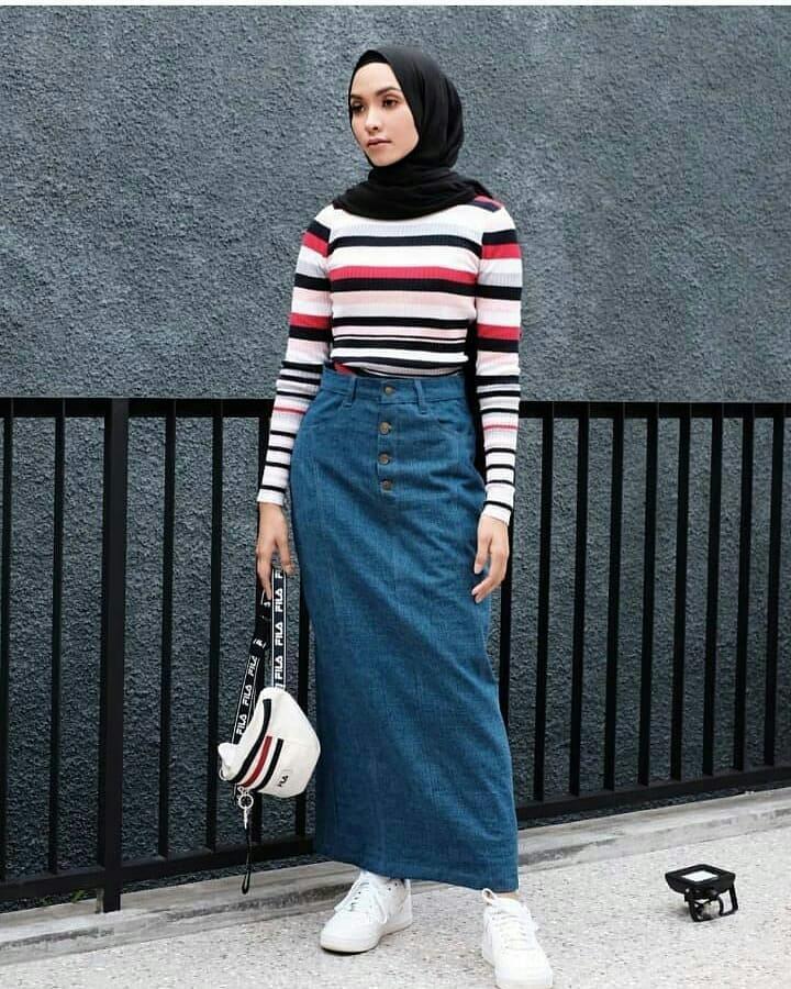 MC Vanesha Jeans Rok Baju Bawahan Wanita Muslim Rok Panjang Suplier Pakaian Hijab Termurah Terbaru Fashion Cewek Modis Trendy Casual Simple