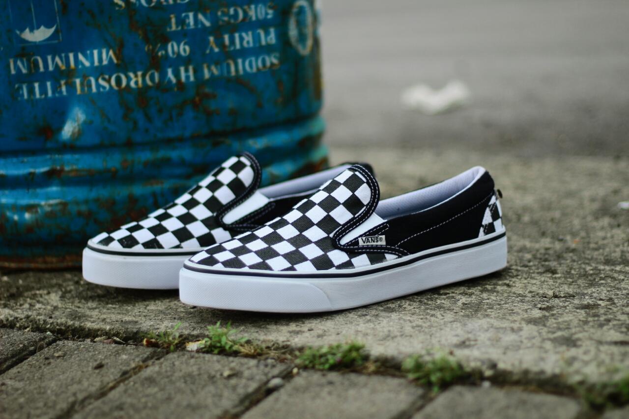 Sepatu Slip-On Pria Casual Vans Slop CheckerBoard Santai Classic