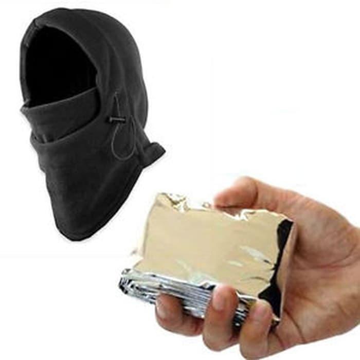 Promo Terbatas!! New Emergency Outdoor Survival Kit Sleeping Blanket Ski Mask Beanie Ha - ready sto