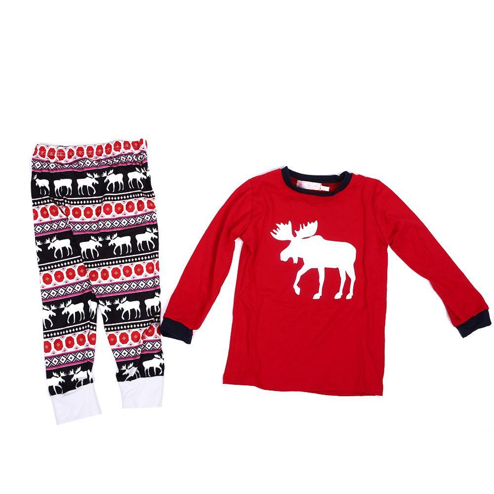 Home Dress Family Pajamas Comfortable Elk Pattern Cotton Polyester Household Men Women Kids
