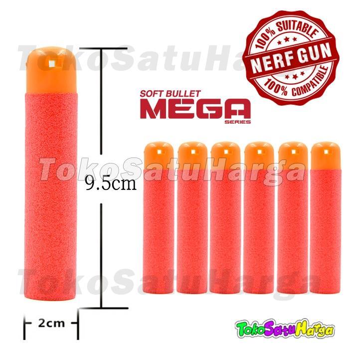 TSH Nerf Compatible Mega dart peluru whistler Soft Bullet Reffil Foam Isi 6pc Good QC