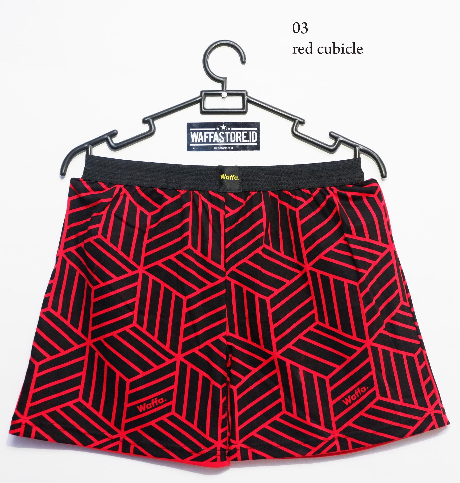 Celana Boxer Cotton Waffa Motif 3D Cubicle