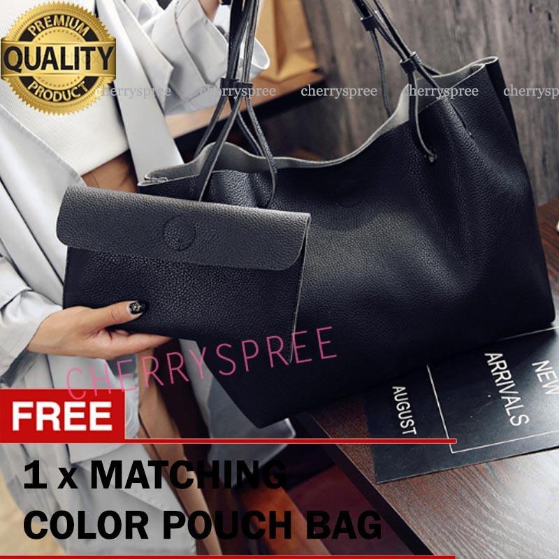 Tas Wanita Import 2in1 Monica Woman Bag Tas Bahu Selempang Impor Gratis  Dompet Bahan Kulit PU 121f17f0fb