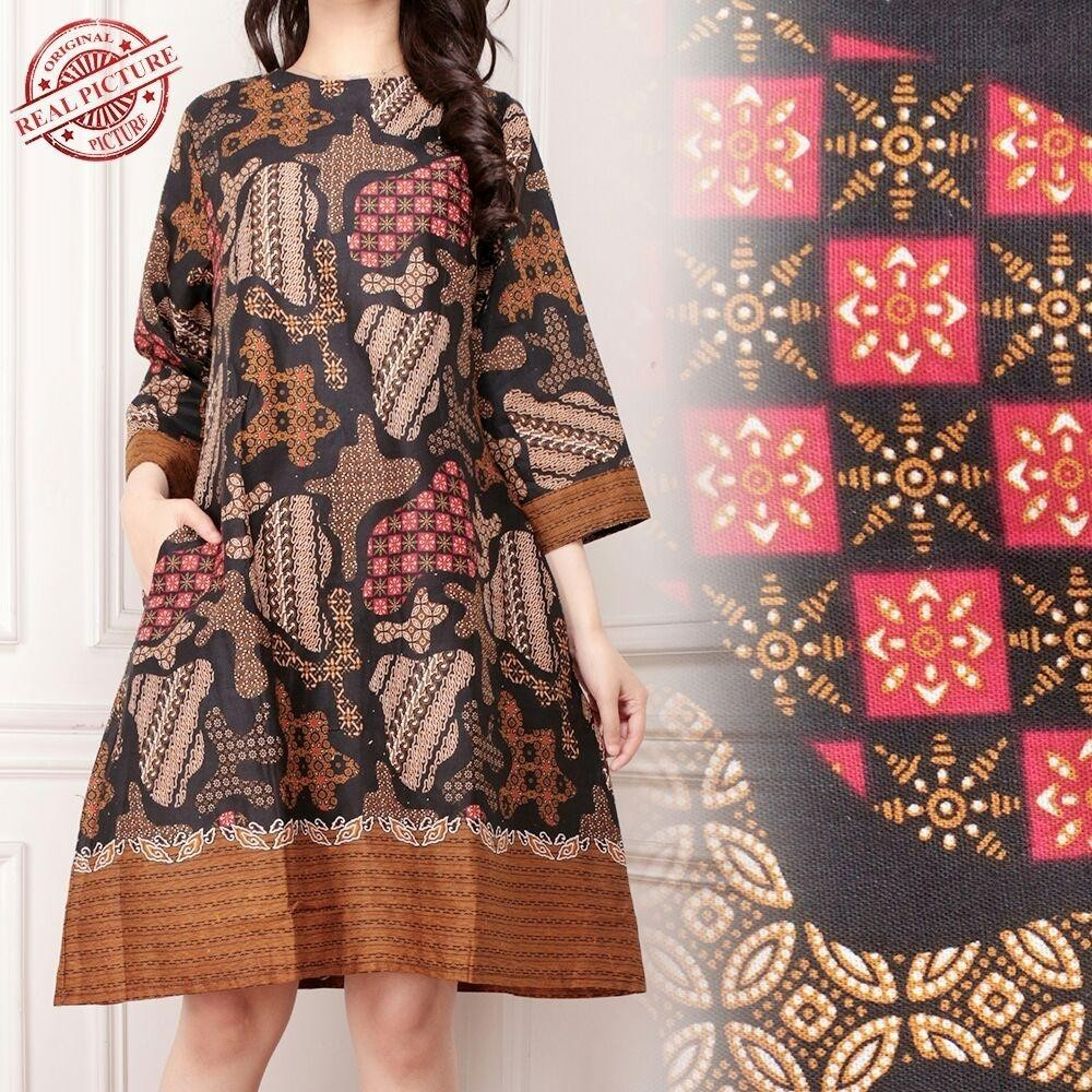 Cj collection Dress maxi pendek atasan blouse short tunik kemeja batik wanita jumbo shirt mini dress Selfie M - XL