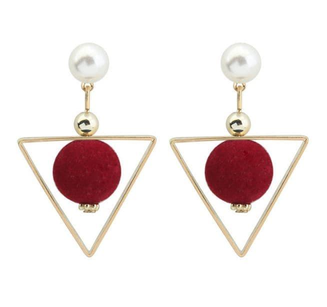 PROMO SAAT INI anting panjang fashion korea dangling earring triangle ball jan120 TERLARIS