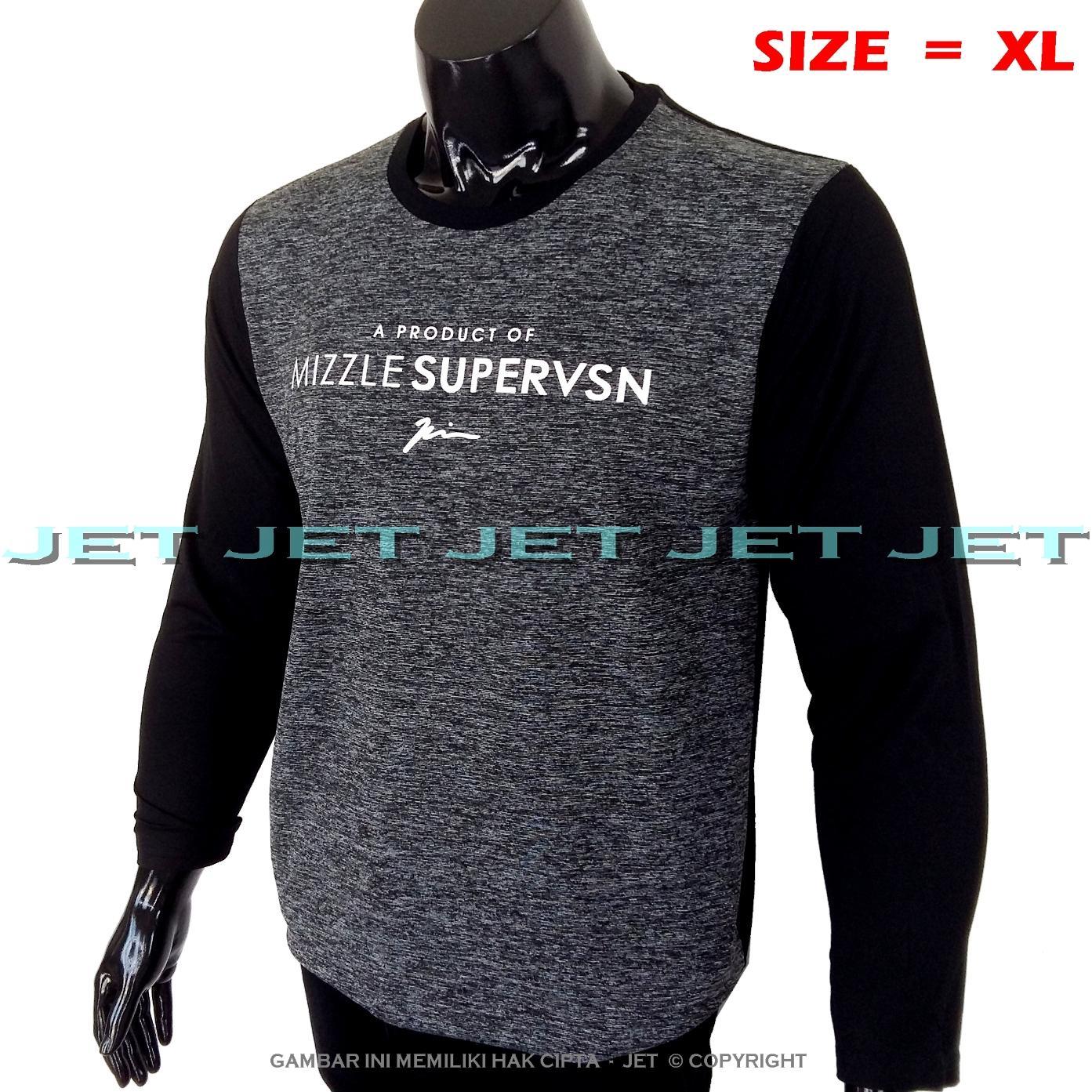 JeT - Kaos Distro MIZZLE SUPERVSN Size XL Dewasa Lengan Panjang Soft Rayon Viscose Lycra Tidak Pasaran Sablonan Eropa Gradasi