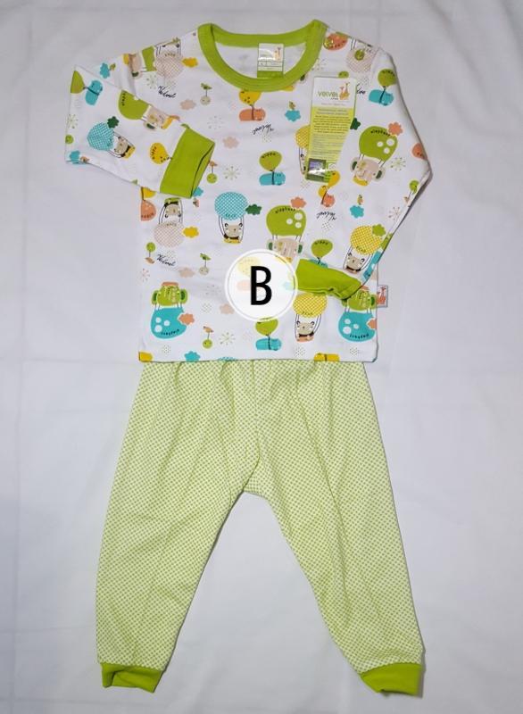 Baju Bayi Setelan Panjang Velvet Junior L 9-12 bulan
