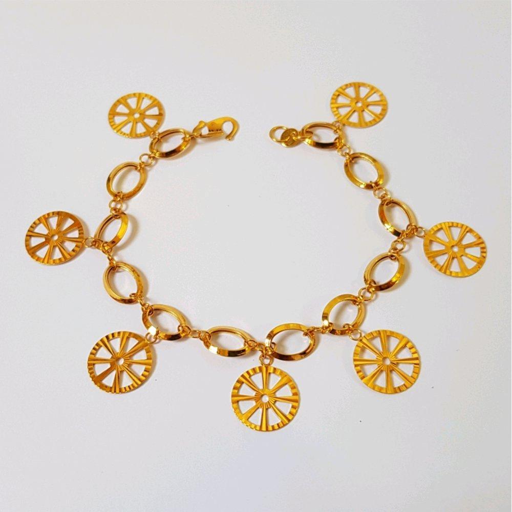 Gelang Emas Asli Kadar 700 Vintage Charm Wheel Bracelet / Perhiasan Emas Wanita / Gold Bracelet By Yukon Gold.