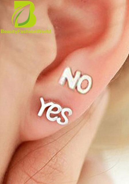 Baru Fashion Simple Lovely 925 Silver Unisex YA & NO Mini Ear Stud Earrings-Intl