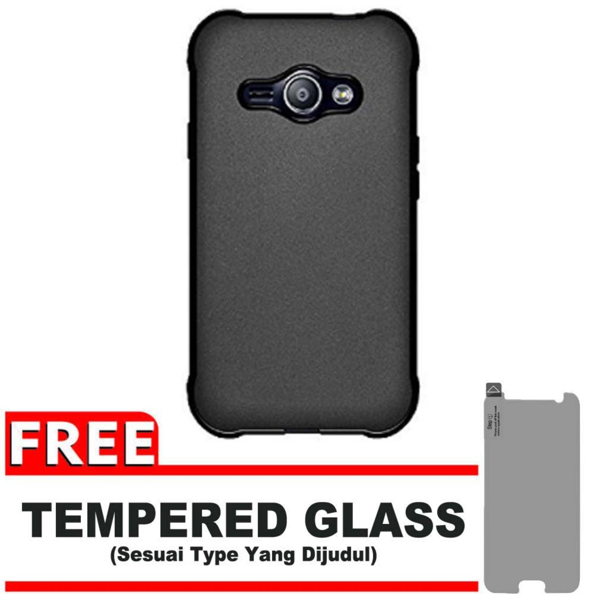 DarkNight for Samsung Galaxy J1 Ace / J110 / 4G LTE / Duos | Slim Case Black Matte Softcase Premium (Anti Minyak/Anti Sidik Jari) - Gratis Free Tempered Glass Protector - Hitam Doff