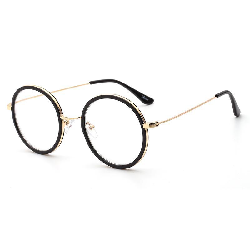 Gaya Korea bingkai kacamata model uniseks Retro Logam pasang jaringan  bentuk bulat Merah kaca polos Bisa 8b48daee24
