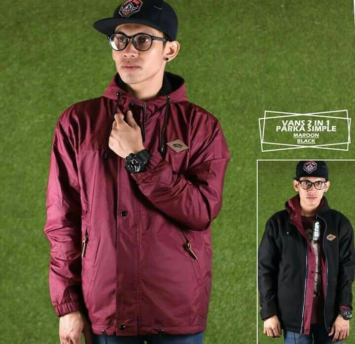 Best Top Seller!! Jaket Pria Vans Bb Parka U002F Jaket Bolak Balik - Maroon Black, M - ready stock