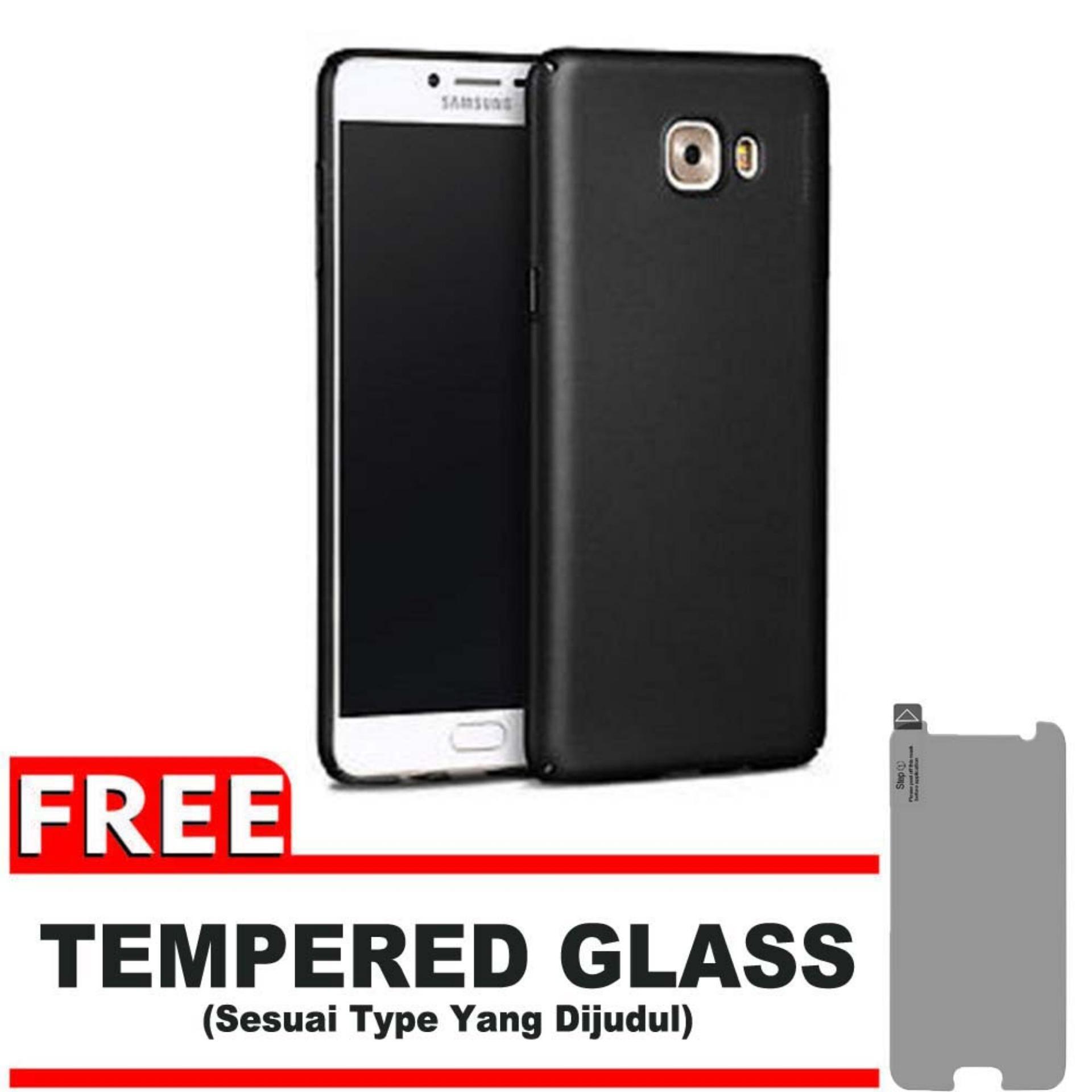 DarkNight for Samsung Galaxy C9 / C9 Pro / 4G LTE / Duos | Slim Case Black Matte Softcase Premium (Anti Minyak/Anti Sidik Jari) - Gratis Free Tempered Glass Protector - Hitam Doff
