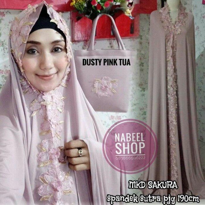 Best seller-Mukena Dubai import-terlaris-cantik elengan-original-sakura Dusty pink tua premium:terkeren