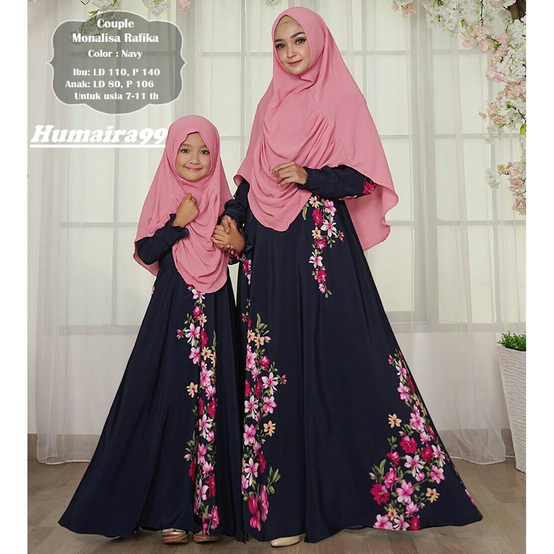 Humaira99 Gamis Syari Couple Ibu Anak Dress Hijab Muslimah Atasan Wanita Monalisa Rafika