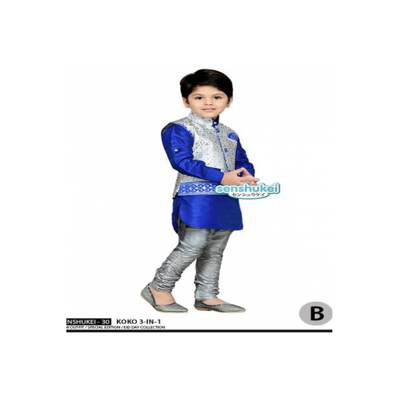 Senshukei 30B Kecil Baju Koko Anak Rompi Biru Silver India Import