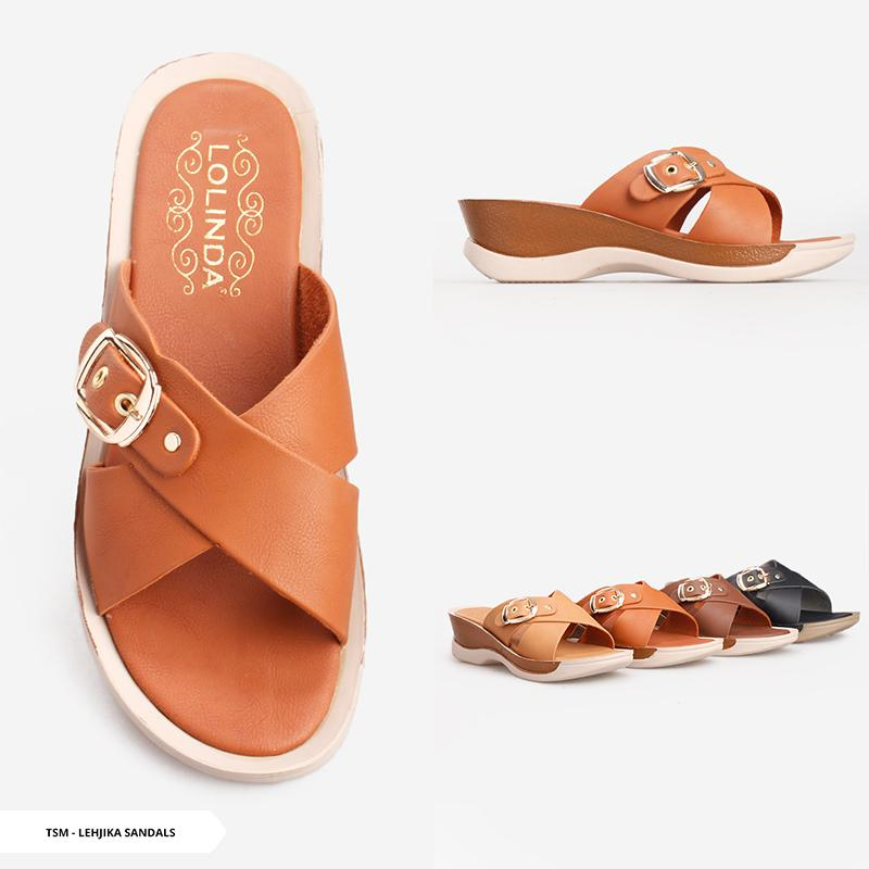Lehjika Buckle Cross Sandals -Brown