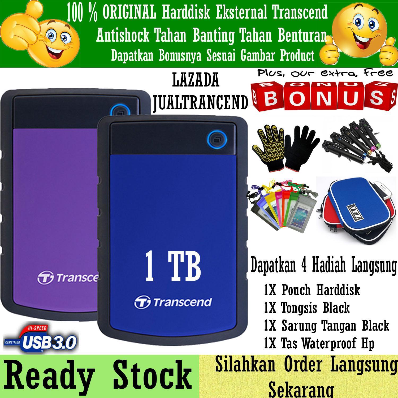 Flash Sale!! Harddisk External Transcend 1TB StoreJet Antishock USB 3.0 25H3 + Gratis Pouch Harddisk + Sarung Tangan Hitam + Tas Waterproof + Tongsis Black