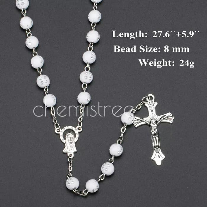 Rosary beads necklace kalung Rosario White/wood