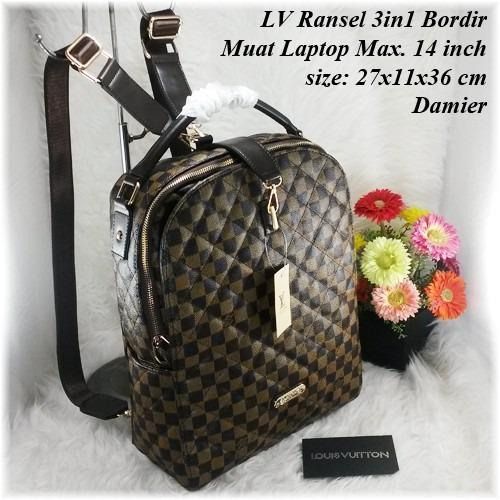 Tas Wanita LV Ransel Laptop 3In1 Bordir Tas Fashion Import Backpack