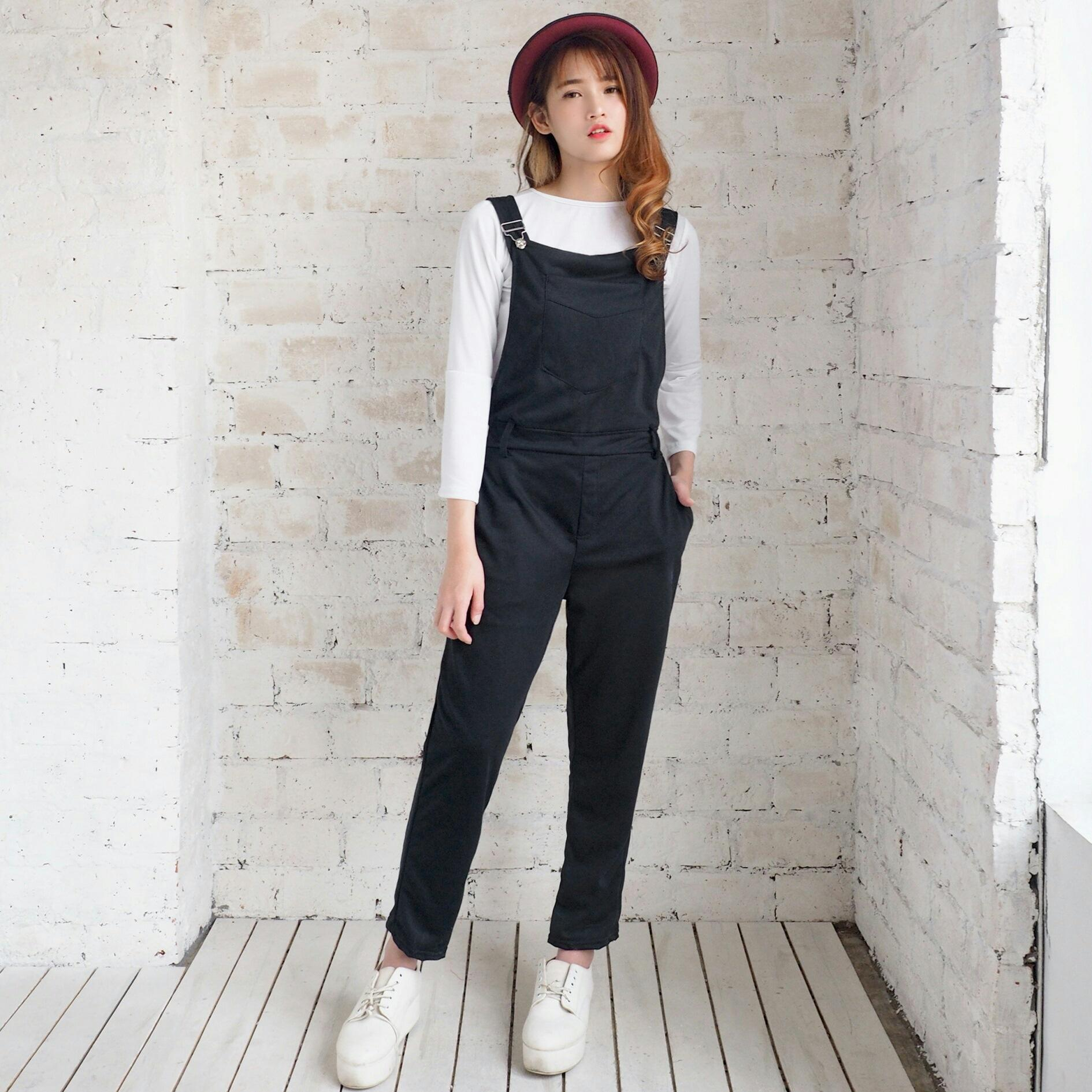 NEW PROMO FASHION MURAH N overall pocket black RO jumpsuit wanita babyterry hitam