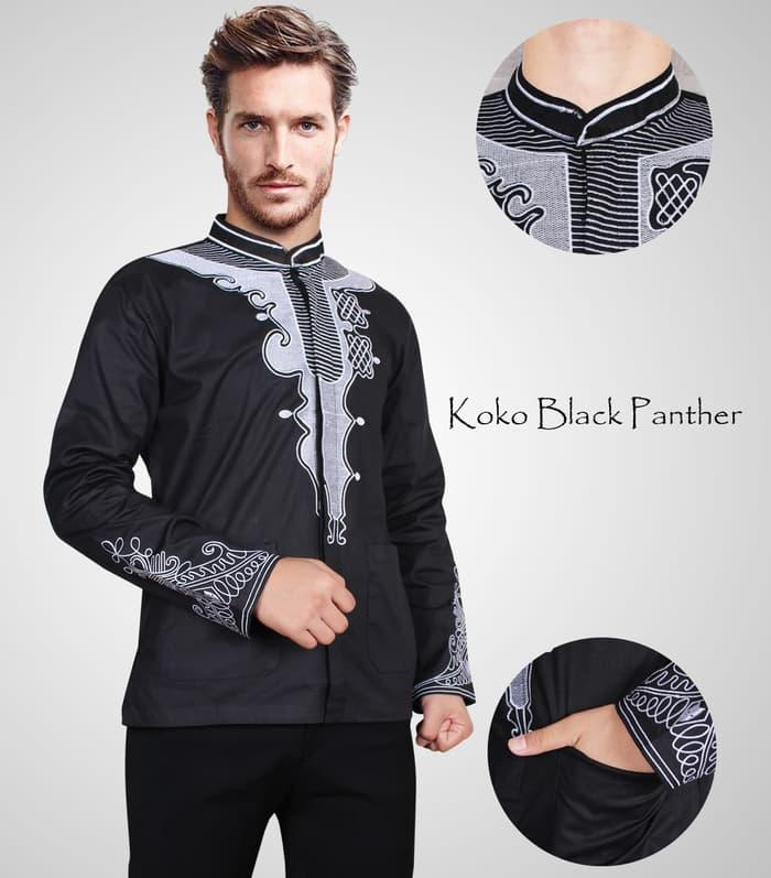 Baju Koko Katun Black Panther Stretch Hitam