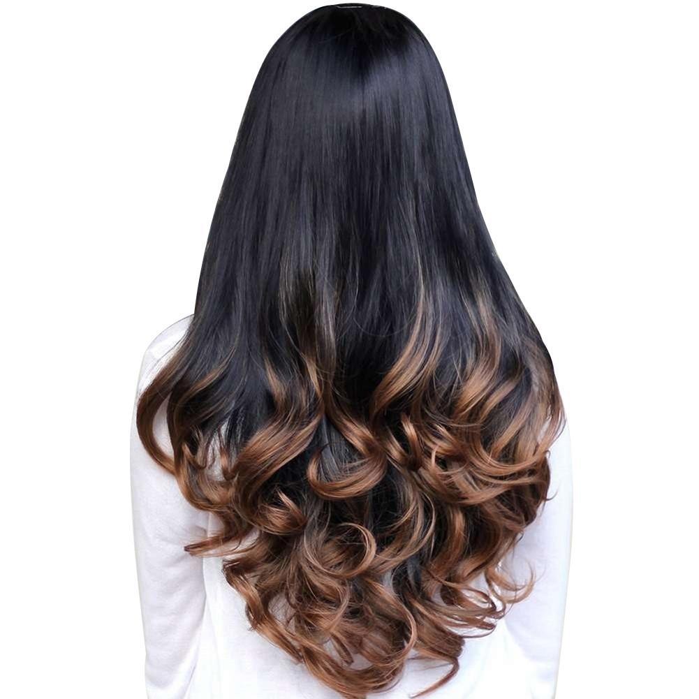 Review of Wanita Big Wave Long Curly Bergelombang Gradient Warna Ombre Tiga Mundur Penuh Rambut Wig (Brown)-Intl anggaran terbaik - Hanya Rp122.790