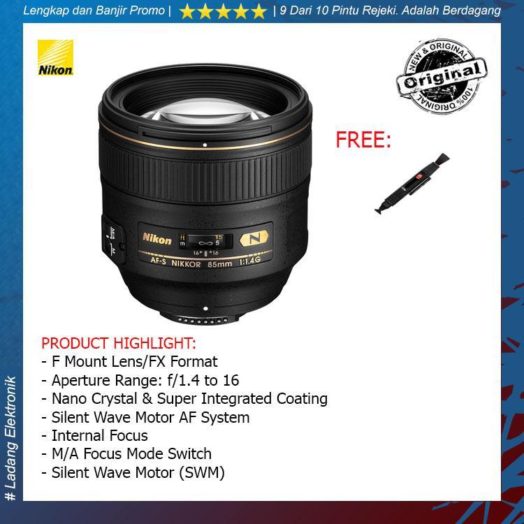 Nikon AF-S 85mm F-1.4 G Lensa Kamera ( Free Lenspen Pembersih Lensa ) / Garansi Distributor 1 Tahun
