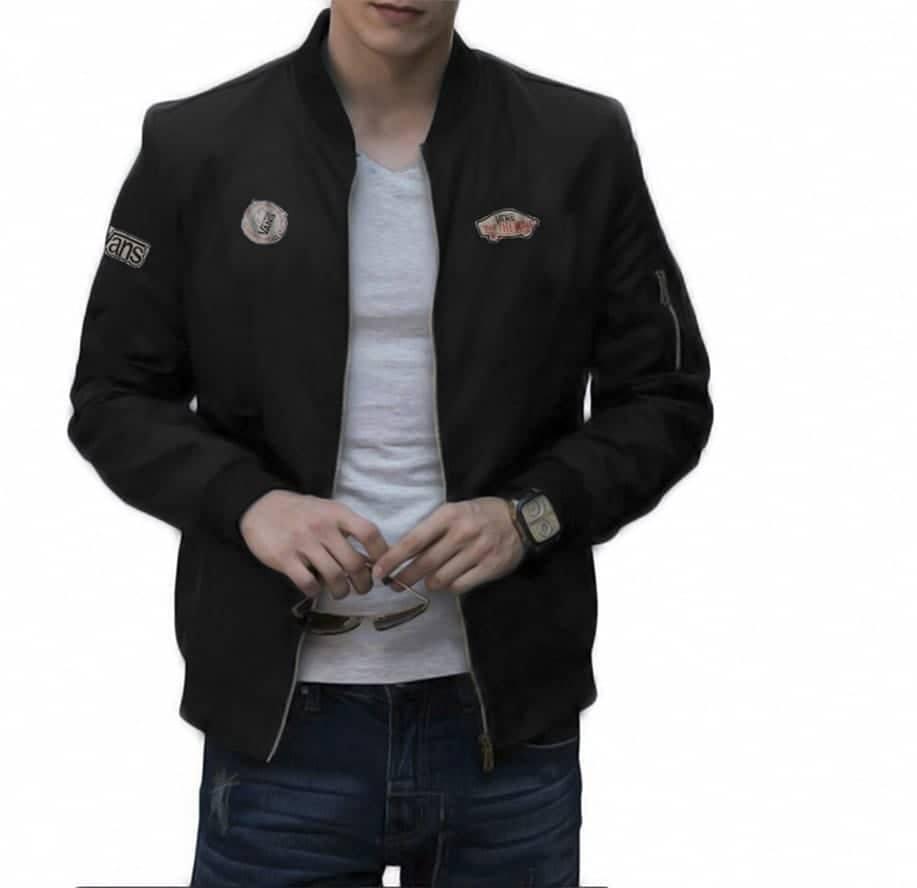 JS - Jaket Bomber Vans Black / Jaket Jeans /Jaket Levis /Jaket Parka  /Jaket Gunung/Jaket Pria Bola