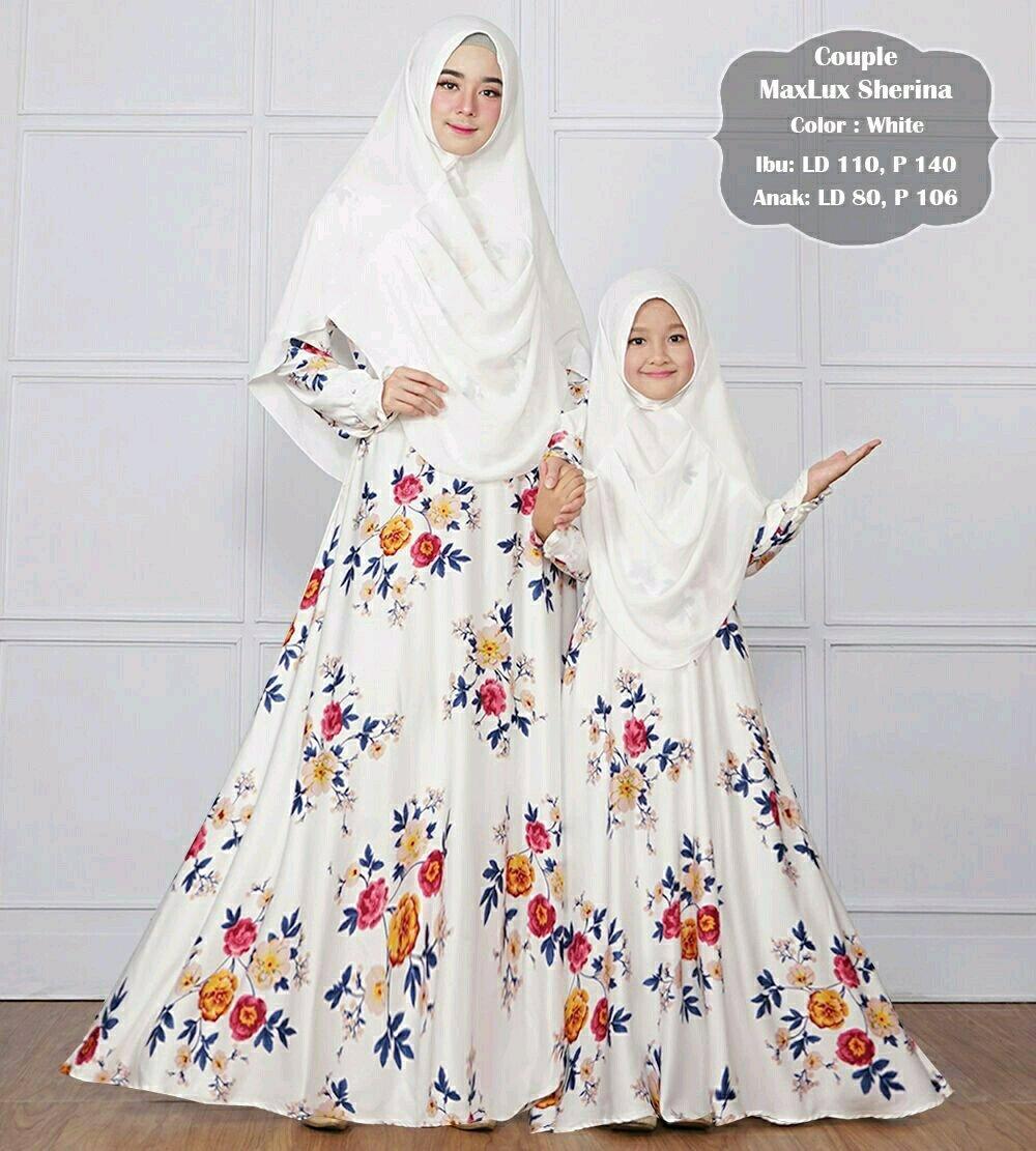 Baju Gamis Couple Maxmara Ibu & Anak Lengkap Dengan Khimar