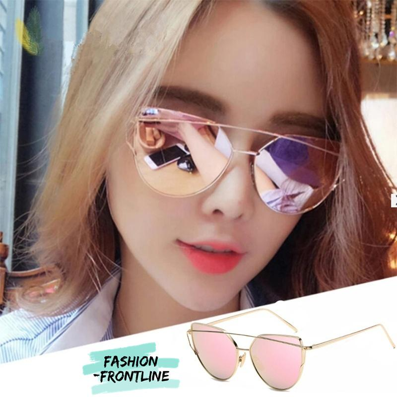 Fashion Women Sunglasses Sunscreen Anti-UV Color Film Sunglasses ( Gold  Pink) - intl 5298564386