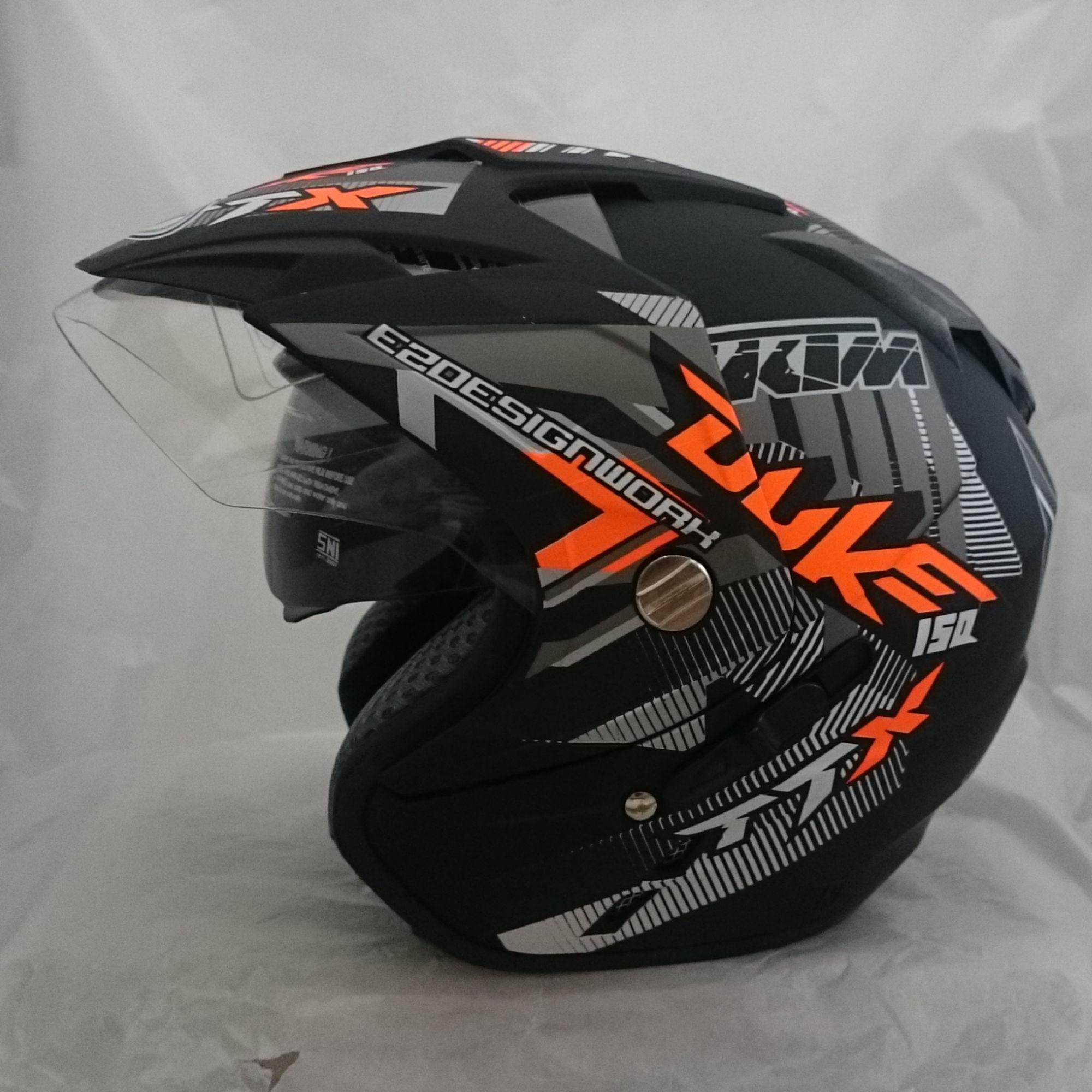 Helm DMN 2 kaca jp-7 (Double visor) Duke orange