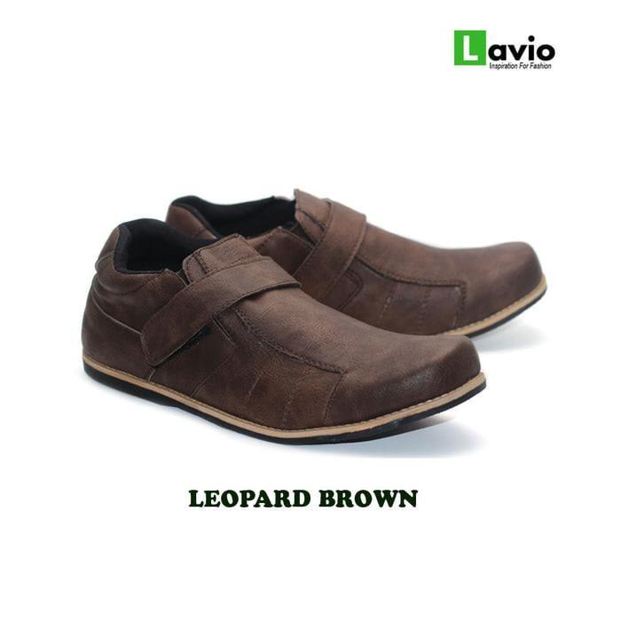 Sepatu Casual Sneakers Original Lavio Leopard Brown Pria