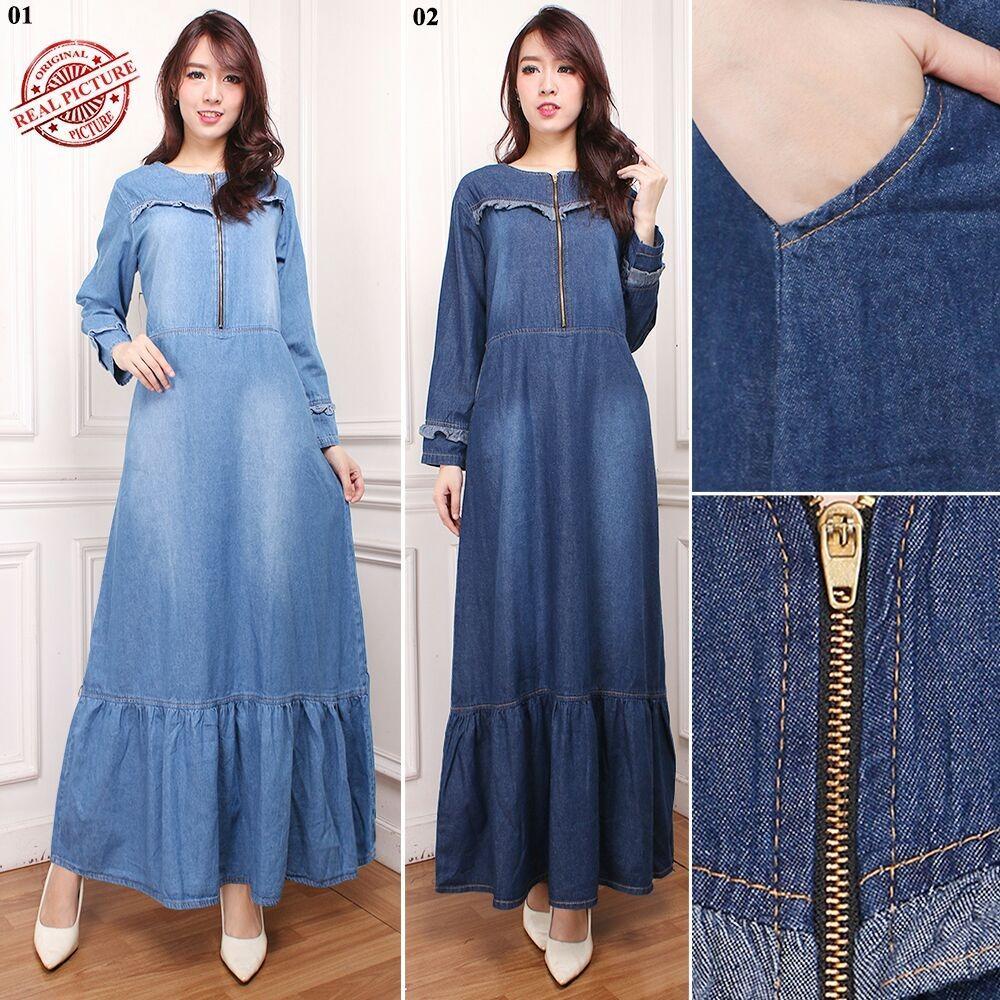 Cj collection Dress jeans maxi panjang gamis kaftan tangan panjang wanita jumbo long dress Caca - 02