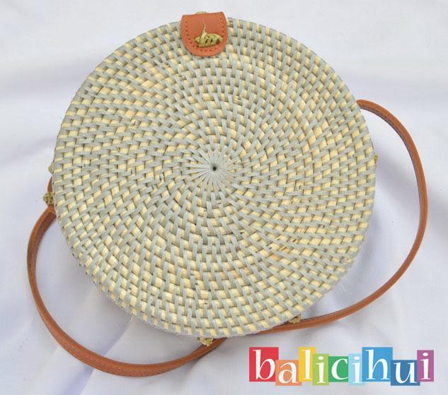 BALICIHUI TAS ROTAN BALI GREY 20 cm / NATURAL RATTAN BAG
